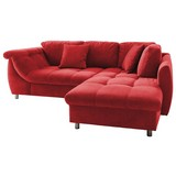 Wohnlandschaft in L-Form Agira Rot - Chromfarben/Rot, Design, Textil (250/190cm) - Livetastic