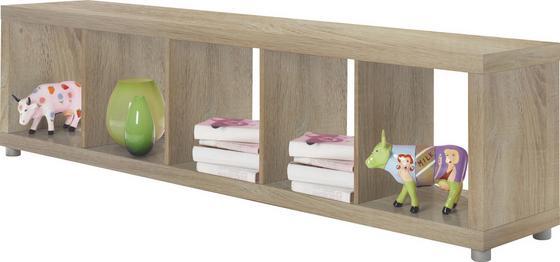 Regál Aron 5 - farby dubu, Moderný, drevený materiál (190,4/46,8/35cm)