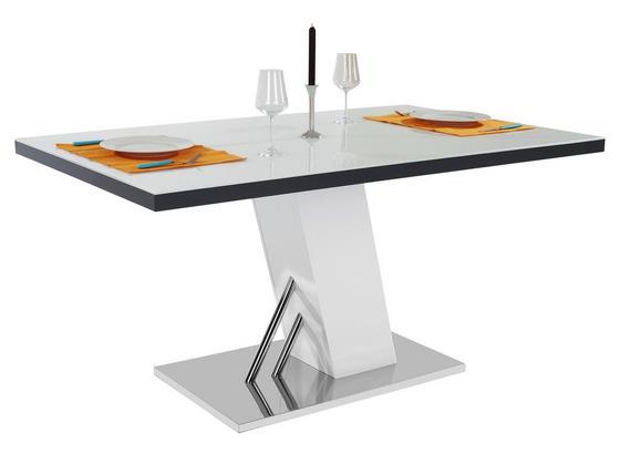 Jídelní Stůl Metz 160 - bílá/barvy nerez oceli, Moderní, kov/kompozitní dřevo (160/76/90cm)