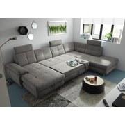 Wohnlandschaft in U-Form Alba ca. 177x349x233 cm - Silberfarben, MODERN, Textil (177/349/233cm) - Carryhome