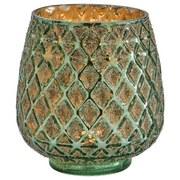 Windlicht Balthild - Grün, KONVENTIONELL, Glas (10,5/11,5cm) - Ombra