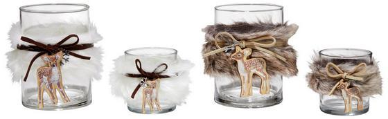 Teelichthalter H: 8 cm - Transparent/Braun, ROMANTIK / LANDHAUS, Glas/Fell (8/8cm)