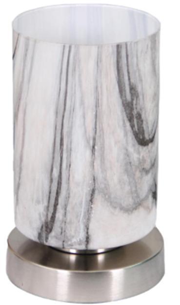 Tischleuchte Bastiane Dimmbar, Nickelfarben Marmoriert - Silberfarben/Weiß, ROMANTIK / LANDHAUS, Glas/Metall (12/19,5cm) - James Wood