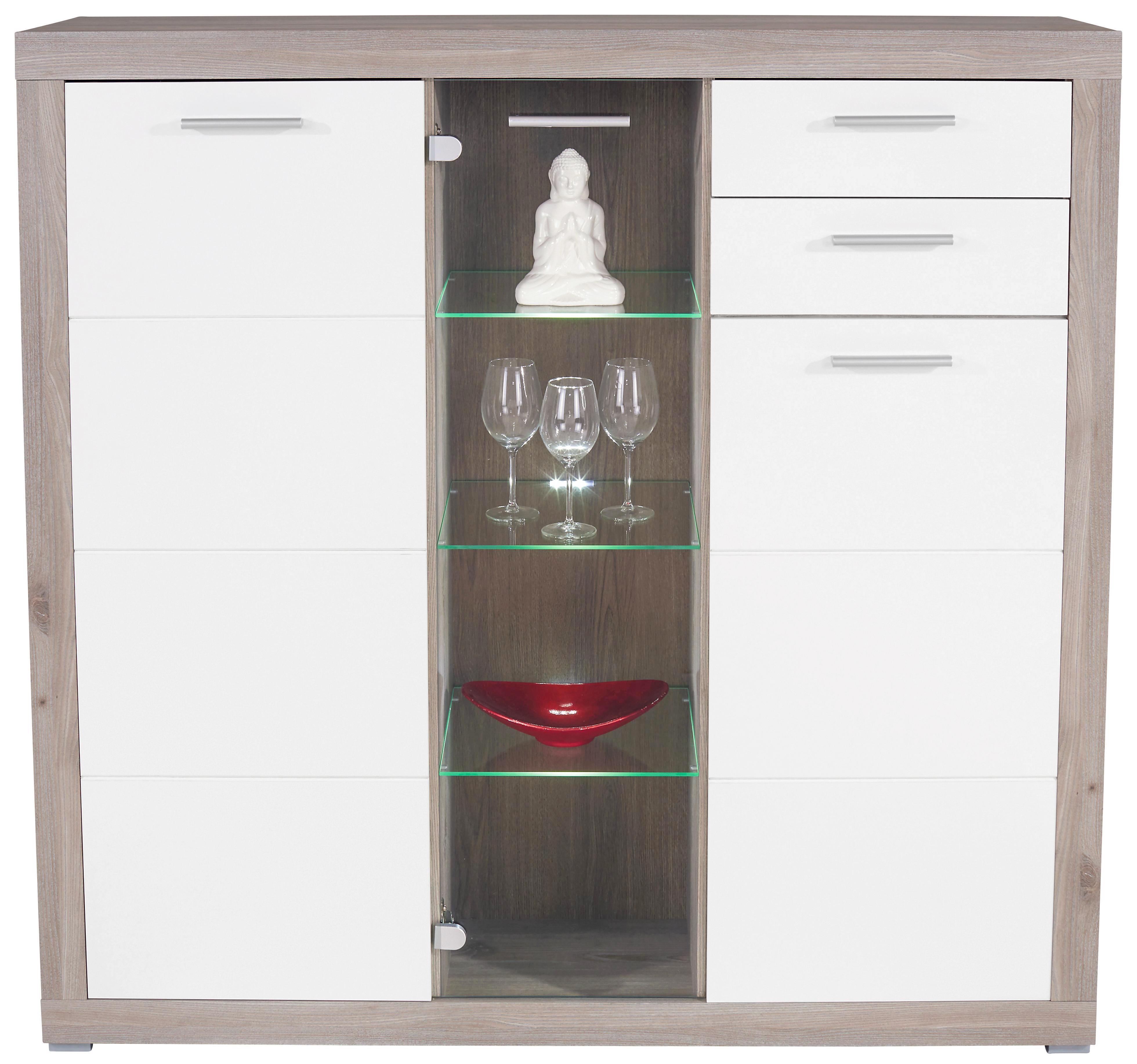 Félmagas Szekrény Cancan 1 - tölgy színű/fehér, modern, üveg/faanyagok (137/134/37cm)