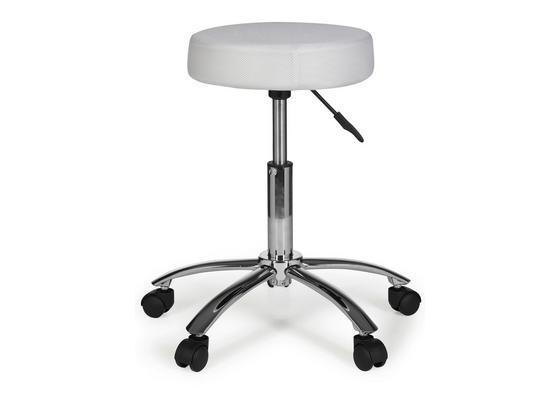 Bürohocker Leon D: ca. 55 cm Weiß - Alufarben/Weiß, KONVENTIONELL, Kunststoff/Textil (55/60/55cm) - Livetastic