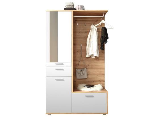 Garderobe Entra B: 117 cm Weiß - Eichefarben/Weiß, MODERN, Glas/Holzwerkstoff (117/198/38cm) - Xora