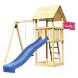 Spielturm Heidi Set L - Blau/Naturfarben, Holz (107/291/107cm) - Karibu