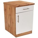 Küchenunterschrank Stella Us60 - Eichefarben/Weiß, Holzwerkstoff (60/86/57cm) - Ombra
