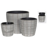 Übertopf-Set 3-Tlg. Grau - Schwarz/Grau, Basics, Kunststoff (36/40cm)