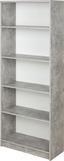 Regál 4-you New Yur03 - bílá/šedá, Moderní, kompozitní dřevo (74/189,5/34,6cm)