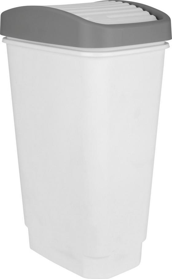 Odpadkový Koš Marius - bílá/šedá, Konvenční, umělá hmota (10l)