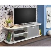 TV-Lowboard Yoris B: 141,6 cm Weiß, Grau - Weiß/Grau, Design, Holzwerkstoff (141,6/44,8/36cm) - Livetastic
