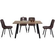 Tischgruppe 5-teilig - Eichefarben/Grau, MODERN, Holzwerkstoff/Textil (140/47/76/89/80/58cm)