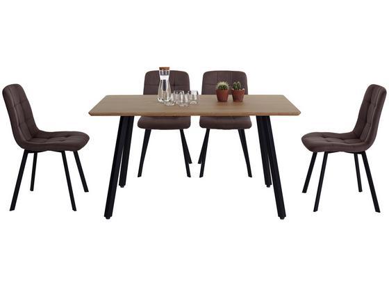 Tischgruppe Lech - Eichefarben/Grau, MODERN, Holzwerkstoff/Textil (140/47/76/89/80/58cm)
