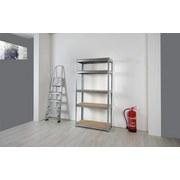 Schwerlastregal Jens ca. 90/180/40cm - Silberfarben/Naturfarben, Holz/Metall (90/40/180cm) - Homezone