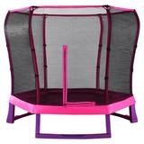 Trampolin 220x220cm mit Sicherheitsnetz/ Plum Junior - Pink/Violett, MODERN, Metall (220/220/190cm)