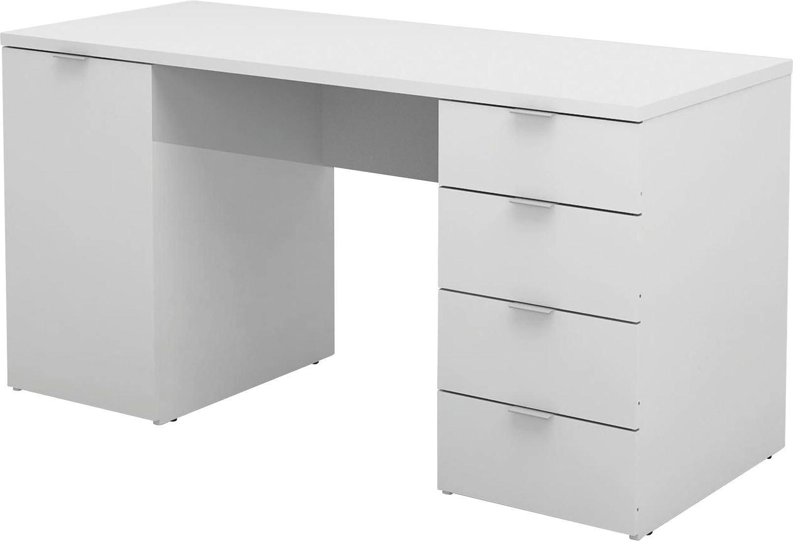 Íróasztal Larry Ii - fehér, modern, faanyagok (145/75/60cm)