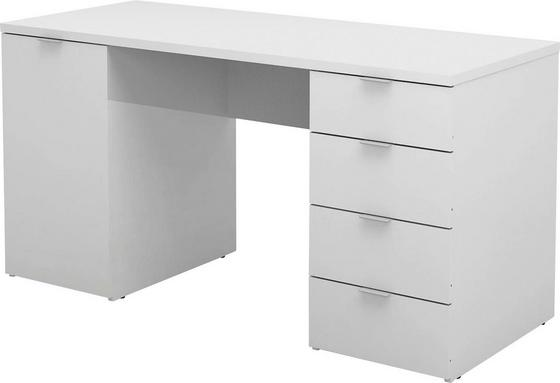Písací Stôl Larry Ii - biela, Moderný, kompozitné drevo (145/75/60cm)