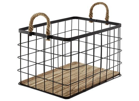 Koš Matt - L - černá/přírodní barvy, Romantický / Rustikální, kov/dřevo (39/29/25cm) - Modern Living