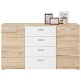 Komoda Milwaukee - bílá/barvy dubu, Konvenční, kov/dřevěný materiál (149,8/85,6/41,3cm)