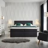 Boxspring Postel Lisa 180x200 Cm Včet. Toppera - tmavě šedá, Moderní, dřevo/textil (205/186/103cm) - Modern Living