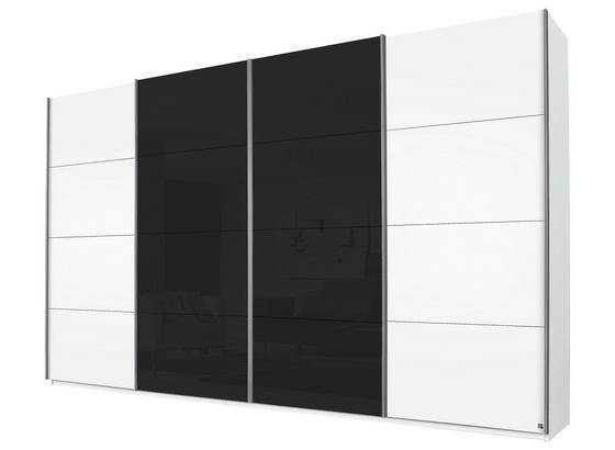 Schwebetürenschrank 361cm Bensheim - Dunkelgrau/Weiß, MODERN, Glas/Holzwerkstoff (361/230/62cm) - James Wood