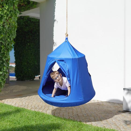 Siťová Houpačka Leon - modrá, Moderní, kov/textil (110/120cm) - Modern Living