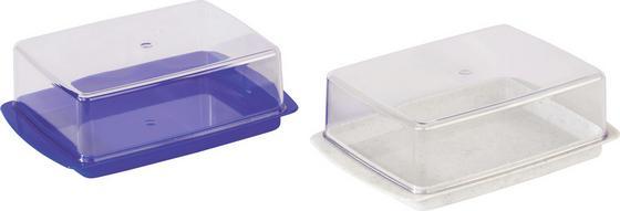 Butterdose 2-teilig - Blau/Weiß, KONVENTIONELL, Kunststoff (9.7/5.3/14.6cm)