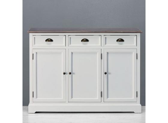 Komoda Cookie - bílá/barvy borovice, kov/dřevo (120/88/37cm) - Premium Living