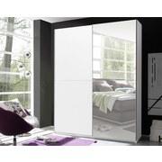 Schwebetürenschrank Starter B: ca. 175 cm - Weiß, Design, Glas/Holzwerkstoff (175/195/60cm) - Carryhome