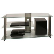 TV-Regal Subuso B: 120 cm Silber, Glas - Klar/Silberfarben, KONVENTIONELL, Glas/Metall (120/56/40cm) - Livetastic