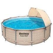 Swimming Pool Power Steel Ø  396 X H 107 cm - Beige, MODERN, Kunststoff/Metall (396/107cm) - Bestway