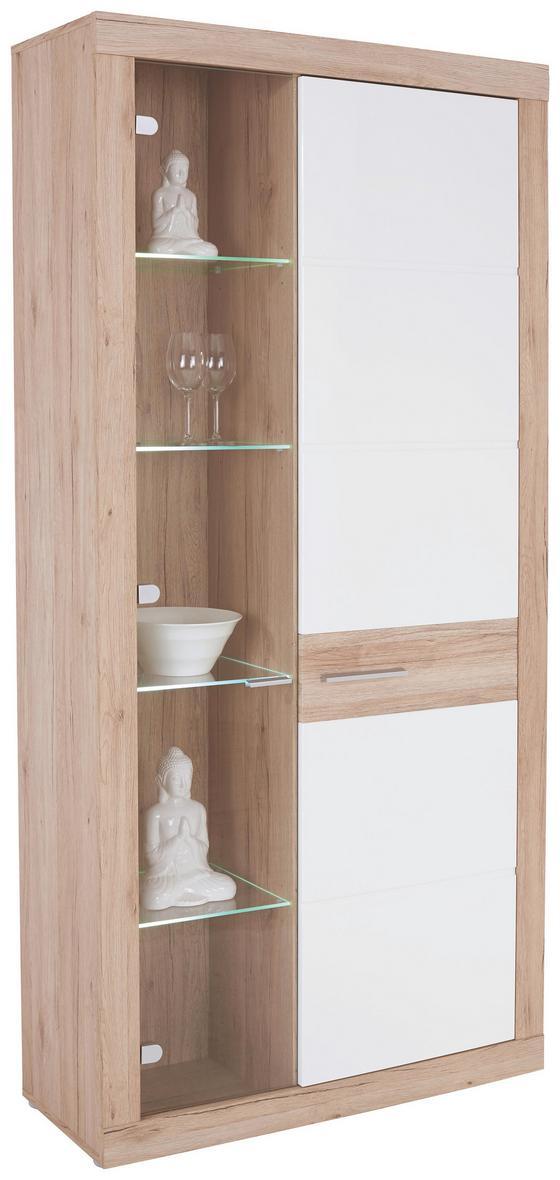 Vitrína Malta - bílá/barvy dubu, Moderní (96/197/35cm)
