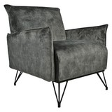 Sessel Mika Luxury B: 72 cm Grau - Schwarz/Grau, Design, Textil (72/85/77cm) - Livetastic