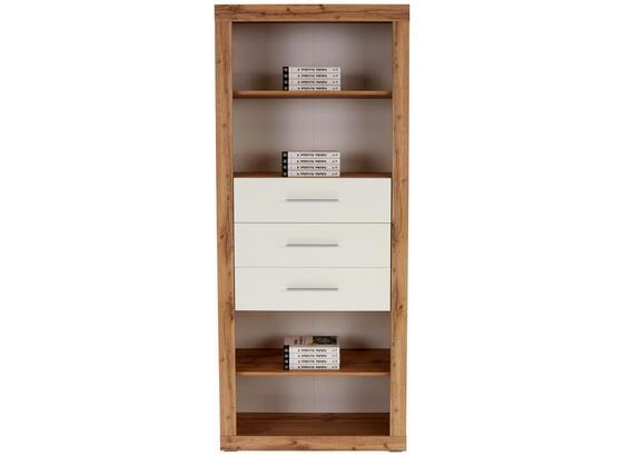 Regál Frame - bílá/barvy dubu, Konvenční, kompozitní dřevo (80/200/42cm)