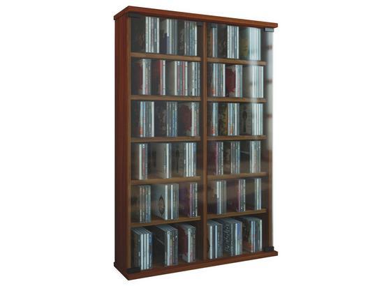CD-regal Roma B: 60 cm - Nussbaumfarben, Basics, Glas/Holzwerkstoff (60/91,5/18cm)