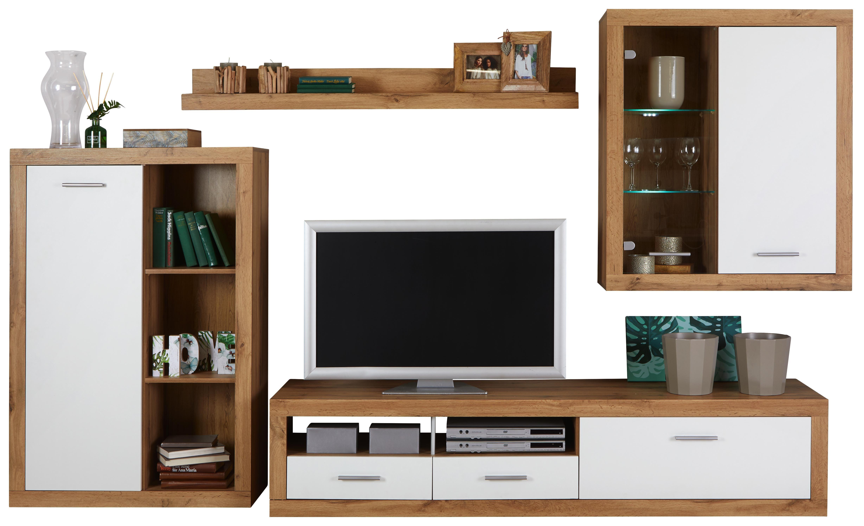 Obývací Stěna Mallorca - bílá/barvy dubu, Moderní, kompozitní dřevo/sklo (290 189 48cm)