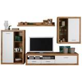 Obývacia Stena Mallorca - farby dubu/biela, Moderný, kompozitné drevo/sklo (290/189/48cm)