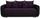 Dreisitzer-sofa Faro B: 225cm - Chromfarben/Violett, MODERN, Holz/Textil (225/90/92cm) - Ombra