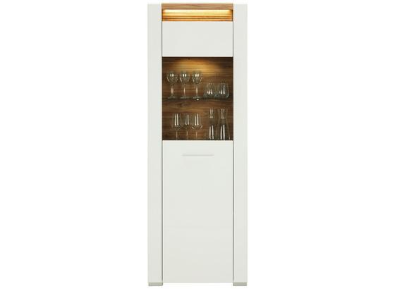 Vitrína Leonardo - bílá/barvy dubu, Moderní, kompozitní dřevo/sklo (70/201/40cm) - Modern Living