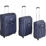 Reisekoffer Set 3-Tlg. Jesolo 2 Rollen - Blau, KONVENTIONELL, Textil/Metall - Luca Bessoni