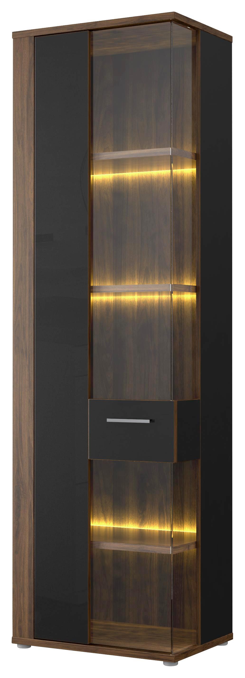 Vitrin Lombardo - fekete/diófa színű, konvencionális, műanyag/üveg (59,1/198,3/41,3cm)