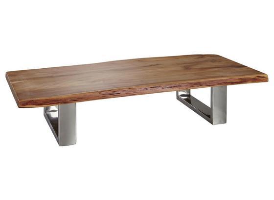 Couchtisch Asura L: ca. 115 cm - Chromfarben/Akaziefarben, Design, Holz/Metall (115/58/25cm) - Carryhome