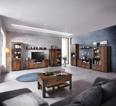 Wohnzimmerprogramm in Betondekor und Eiche rustikal