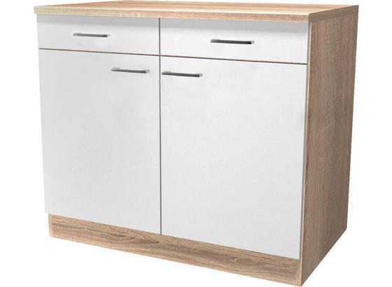 Kuchyňská Spodní Skříňka Samoa  Us 100 - bílá/barvy dubu, Konvenční, kompozitní dřevo (100/85/57cm)