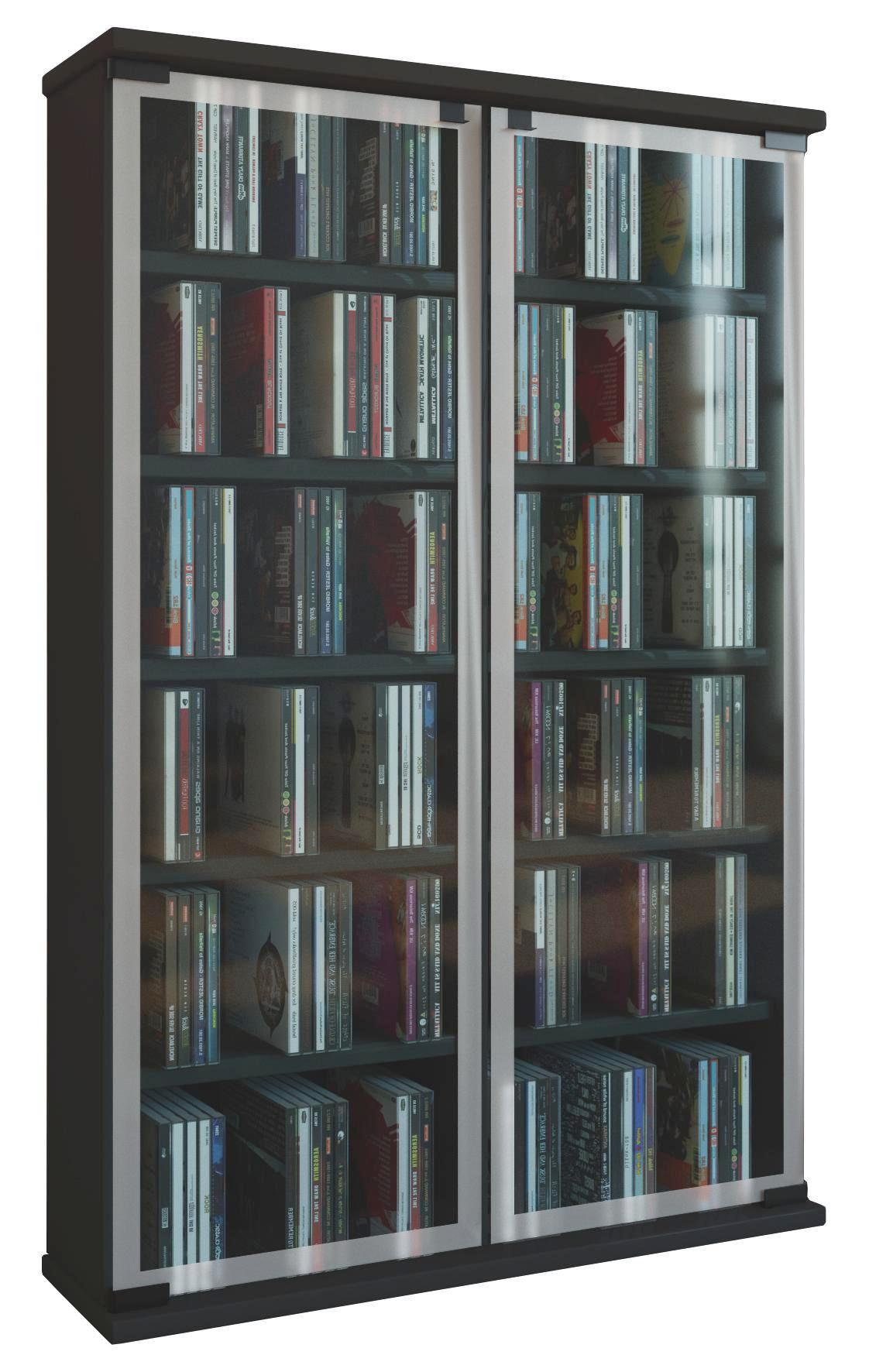 Schwarzes CD Regal für bis zu 300 CDs