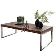 Couchtisch Holz Massiv Guna, Sheesham - Chromfarben/Sheeshamfarben, Design, Holz/Metall (120/60/40cm) - Livetastic