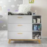 Přebalovací Komoda Lilo - bílá/barvy buku, Moderní, dřevo (112/109,5/77cm) - Modern Living
