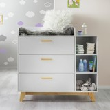 Prebaľovacia Komoda Lilo - biela/farby buku, Moderný, drevo (112/109,5/77cm) - Modern Living
