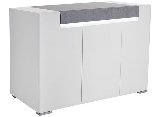 Sideboard Toronto B:140cm Weiß Dekor/ Betonoptik Grau - Chromfarben/Weiß, MODERN, Glas/Holzwerkstoff (140/85/42,2cm) - Ombra